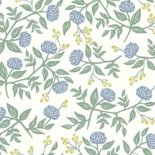 Papel pintado estilo flores en color azul y dorado sobre fondo blanco Peonies RI5148