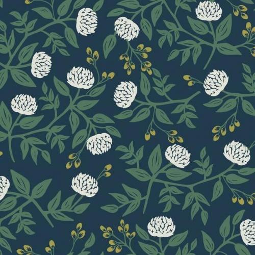 Papel pintado estilo flores en color blanco sobre fondo azul marino Peonies RI5149