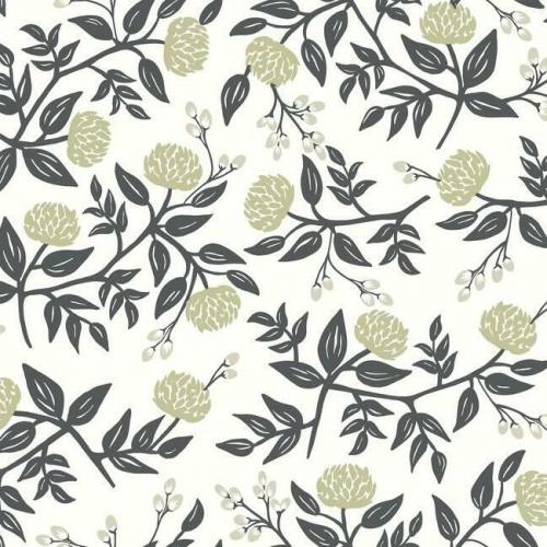 Papel pintado estilo flores en color plateado sobre fondo blanco Peonies RI5150
