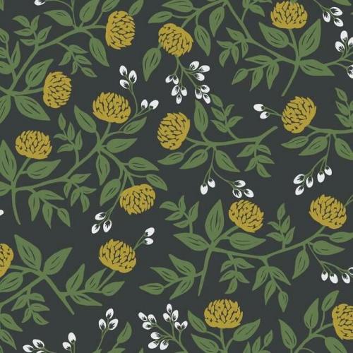 Papel pintado estilo flores en color dorado sobre fondo negro Peonies RI5151