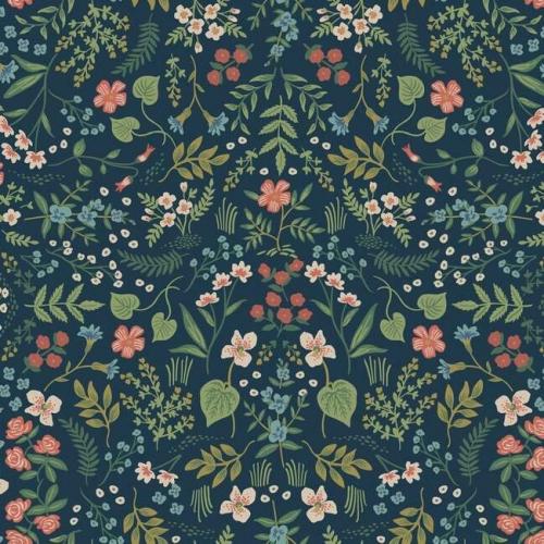 Papel pintado de estilo estampado floral multicolor sobre fondo azul Wildwood RI5154
