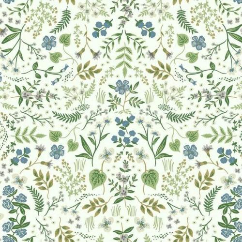 Papel pintado estampado floral multicolor sobre fondo verde Wildwood RI5155