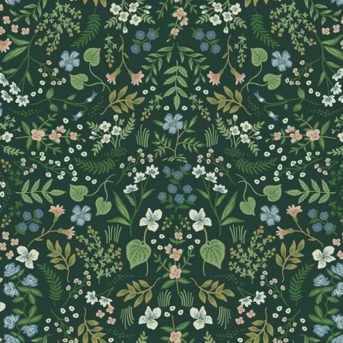 Papel pintado de estilo estampado floral multicolor sobre fondo verde Wildwood RI5156