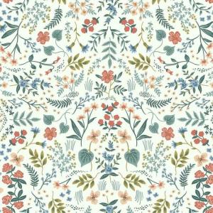 Papel pintado de estilo estampado floral multicolor sobre fondo beige Wildwood RI5157