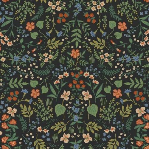 Papel pintado de estilo estampado floral multicolor sobre fondo negro Wildwood RI5158