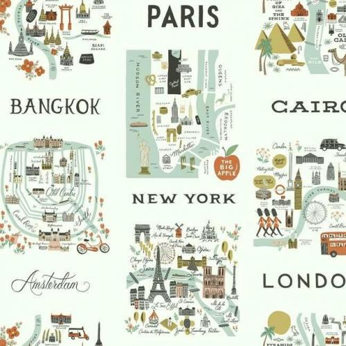 Papel pintado estilo arquitectura y ciudades en tonos verdes y rojos sobre fondo verde claro City Maps RI5160