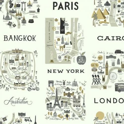 Papel pintado estilo arquitectura y ciudades en tonos grises con detalles metálicos dorados sobre fondo verde claro City Maps RI5161