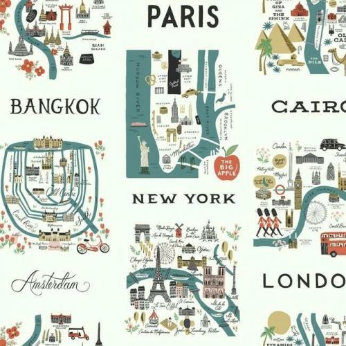 Papel pintado estilo arquitectura y ciudades en tonos azules y rojos sobre fondo verde claro City Maps RI5162