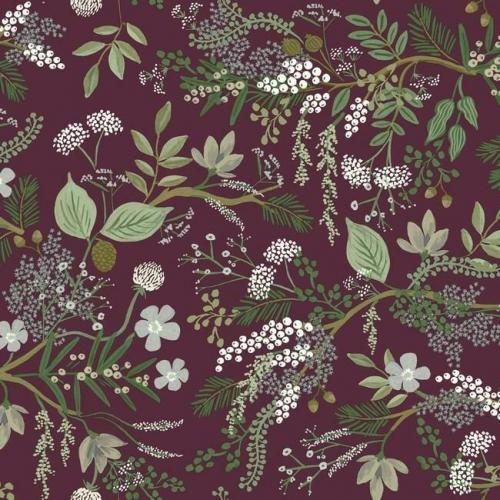 Papel pintado estilo estampado floral multicolor con hojas verdes sobre fondo granate Juniper Forest RI5164