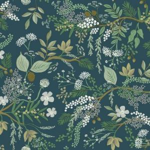 Papel pintado estilo estampado floral en tonos verdes sobre fondo verde Juniper Forest RI5165