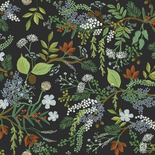 Papel pintado estilo estampado floral multicolor sobre fondo negro Juniper Forest RI5166