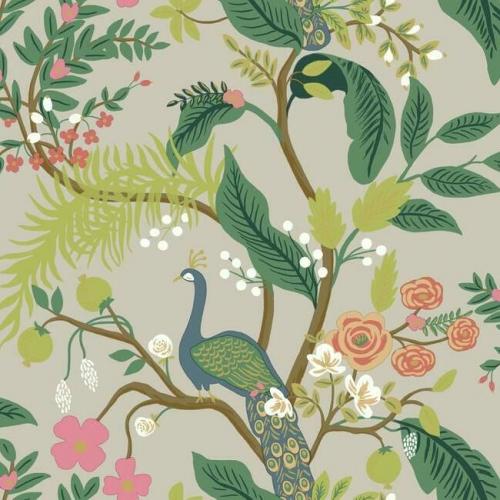 Papel pintado estilo aves multicolor sobre fondo marfil oscuro Peacock RI5171
