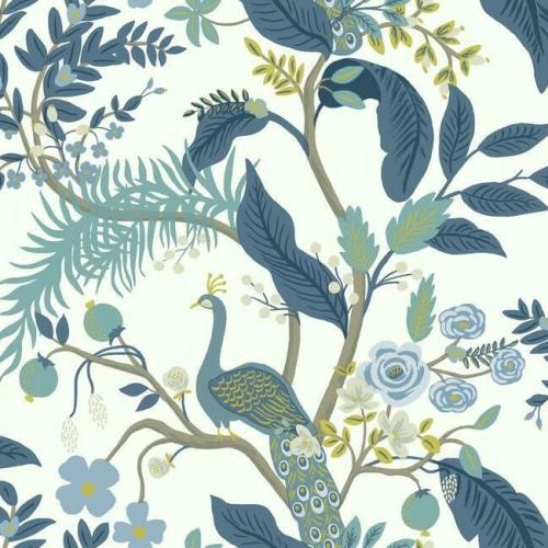 Papel pintado estilo aves en tonos de azul sobre fondo blanco Peacock RI5173