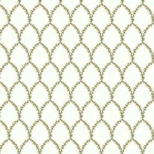 Papel pintado estilo trellis hojas doradas sobre fondo blanco Laurel RI5176