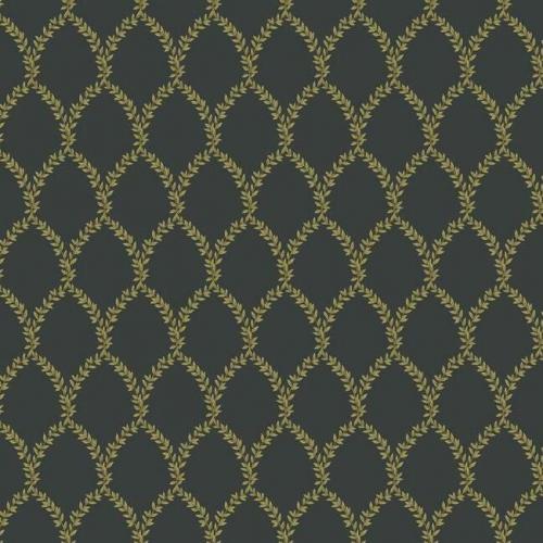 Papel pintado estilo trellis hojas doradas sobre fondo negro Laurel RI5177