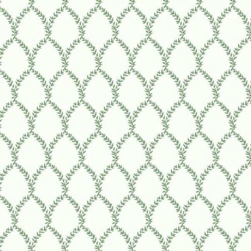 Papel pintado estilo trellis hojas verdes sobre fondo blanco Laurel RI5178