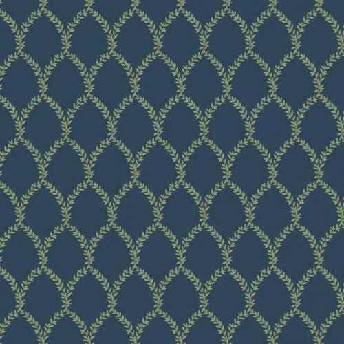 Papel pintado estilo trellis hojas verdes sobre fondo azul Laurel RI5179