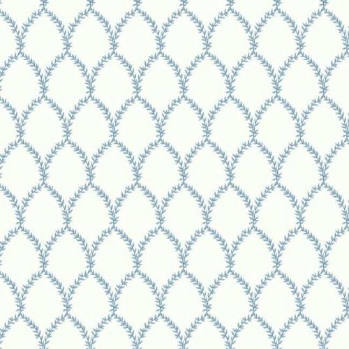 Papel pintado estilo trellis hojas azules sobre fondo blanco Laurel RI5180