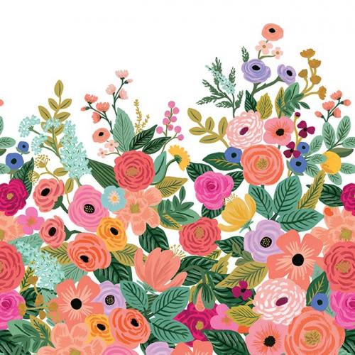 Mural de papel pintado estilo estampado floral multicolor sobre fondo blanco Garden Party RI5190M