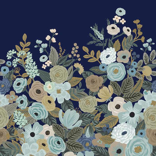 Mural de papel pintado estilo estampado floral azul y marrón sobre fondo azul Garden Party RI5191M