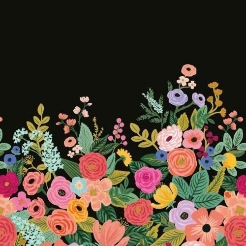 Mural de papel pintado estilo estampado floral multicolor sobre fondo negro Garden Party RI5192M