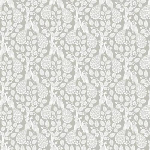 Papel pintado de estilo aves color blanco sobre fondo gris Plumage SP1401