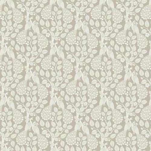 Papel pintado de estilo aves color blanco sobre fondo beige Plumage SP1402