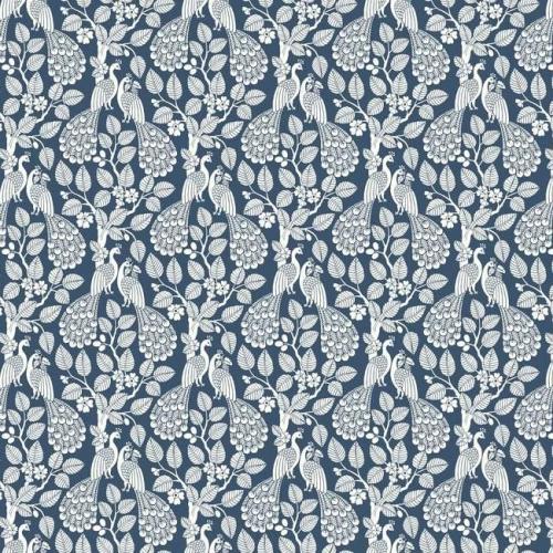 Papel pintado de estilo aves color blanco sobre fondo azul oscuro Plumage SP1404