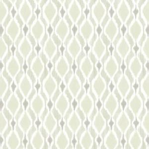 Papel pintado de estilo dibujo pequeño de dibujos de rombos en color marfil y gris con rayas en color gris claro Dyed Ogee SP1425