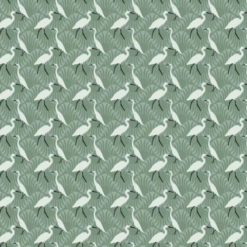 Papel pintado de estilo aves en color blanco sobre fondo verde Evening Egret SP1457