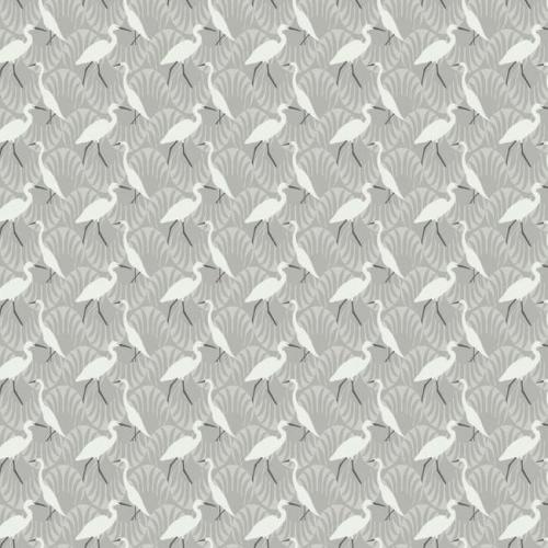 Papel pintado de estilo aves en color blanco sobre fondo gris claro Evening Egret SP1460
