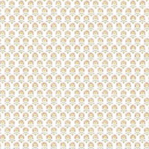 Papel pintado de estilo dibujo pequeño en tonos amarillos sobre fondo blanco Petite Fleur SP1468