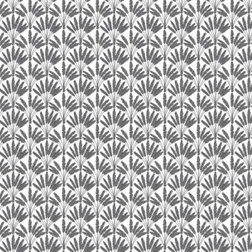 Papel pintado de estilo dibujo pequeño de ramilletes de flores en color gris sobre fondo blanco Frond Fan SP1505