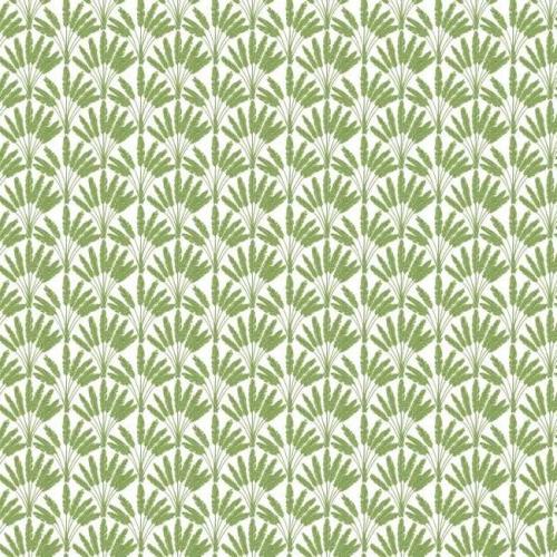 Papel pintado de estilo dibujo pequeño de ramilletes de flores en color verde sobre fondo blanco Frond Fan SP1506