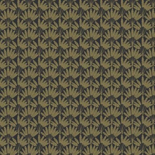 Papel pintado de estilo dibujo pequeño de ramilletes de flores en color marrón sobre fondo negro Frond Fan SP1508