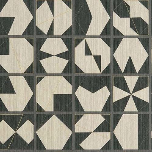 Papel pintado estilo abstracto figuras geométricas en colores negro y beige Kutani Vinyl W7557-01