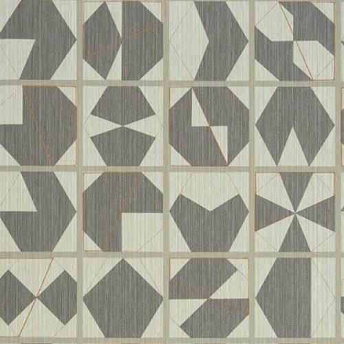 Papel pintado estilo abstracto figuras geométricas en colores gris y beige Kutani Vinyl W7557-02