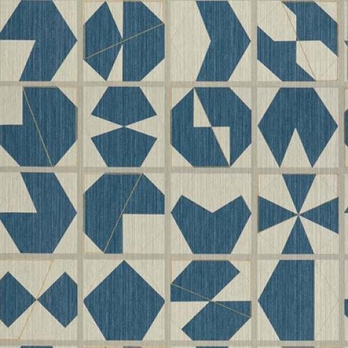 Papel pintado estilo abstracto figuras geométricas en colores azul y beige Kutani Vinyl W7557-03