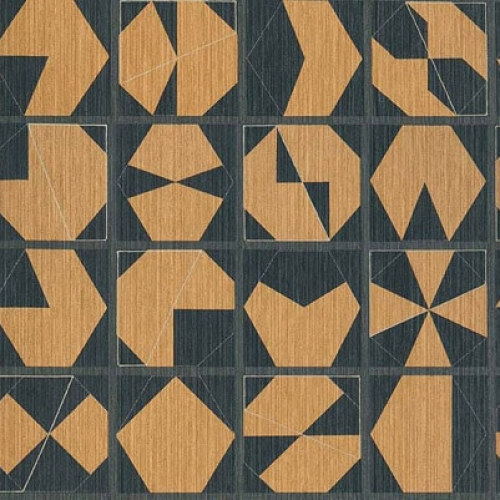Papel pintado estilo abstracto figuras geométricas en colores negro y marrón Kutani Vinyl W7557-04