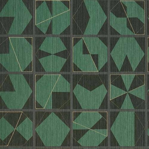 Papel pintado estilo abstracto figuras geométricas en colores negro y verde Kutani Vinyl W7557-05