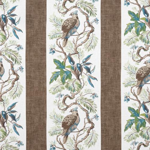 Tela de estilo aves en color marrón Williamson F910862
