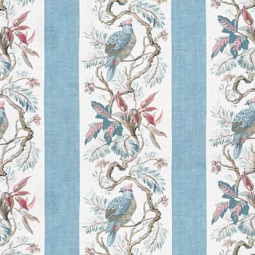 Tela de estilo aves en color azul claro Williamson F910863