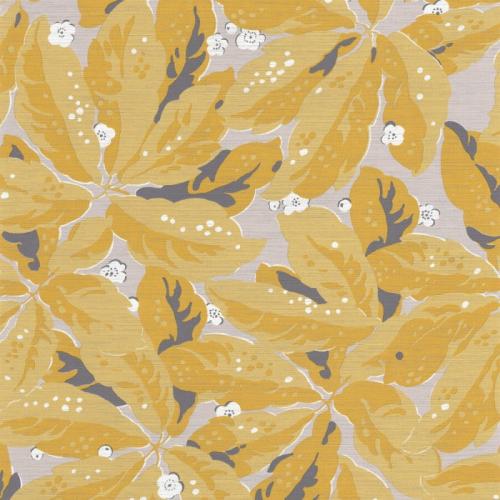 Papel pintado estilo hojas en color amarillo Greenery 85792461