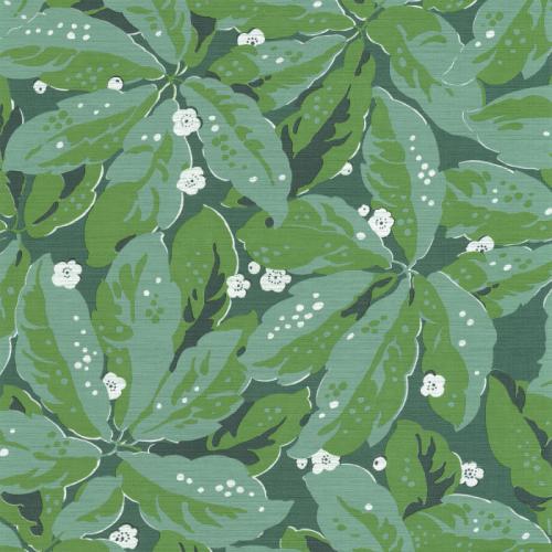 Papel pintado estilo hojas en color verde Greenery 85797156
