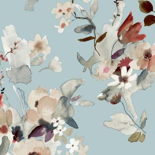 Papel pintado estilo floral estampado en color azul Alouette IV AT50102