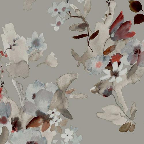 Papel pintado estilo floral estampado en color gris Alouette IV AT50108