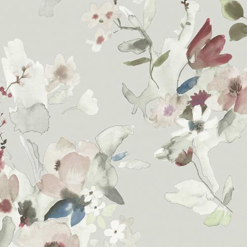 Papel pintado estilo floral estampado en color gris claro Alouette IV AT50118