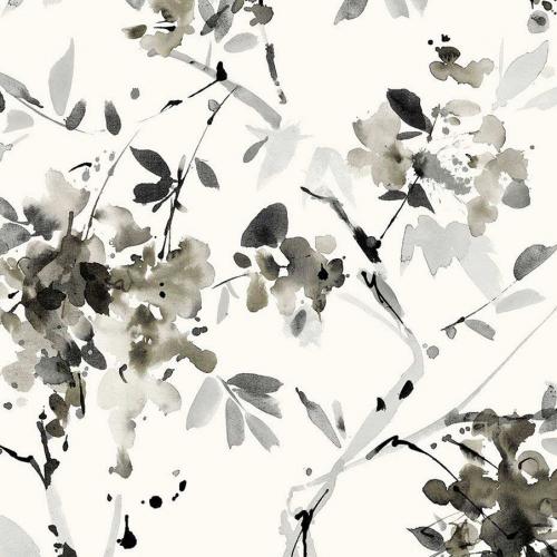 Papel pintado estilo floral estampado en tonos de color gris Alouette IV AT50200