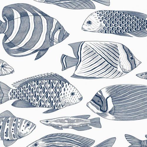 Papel pintado estilo animales marinos en tonos de color azul Wailea EC80202