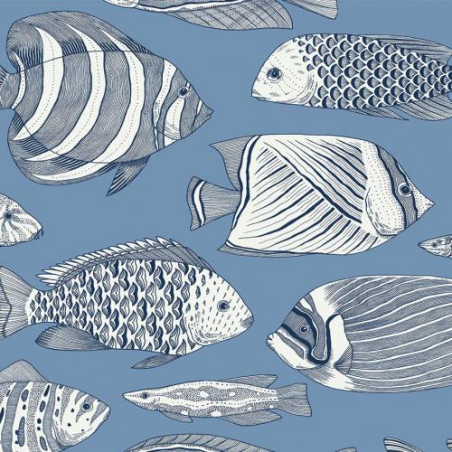 Papel pintado estilo animales marinos en tonos de color azul Wailea EC80212